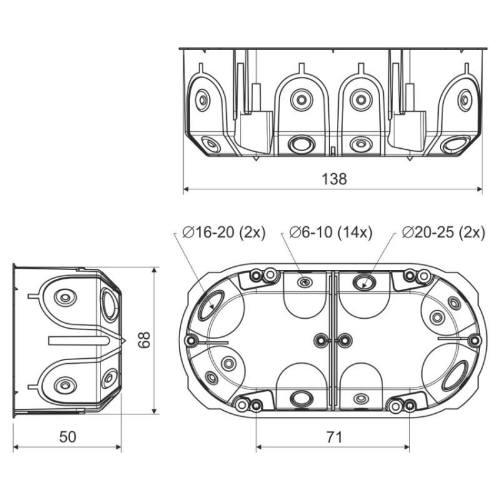 Krabica KPL64-50 / 2LD do dutých stien