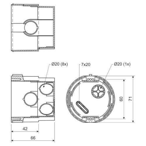 Krabica KPR 68, 73 x 66mm