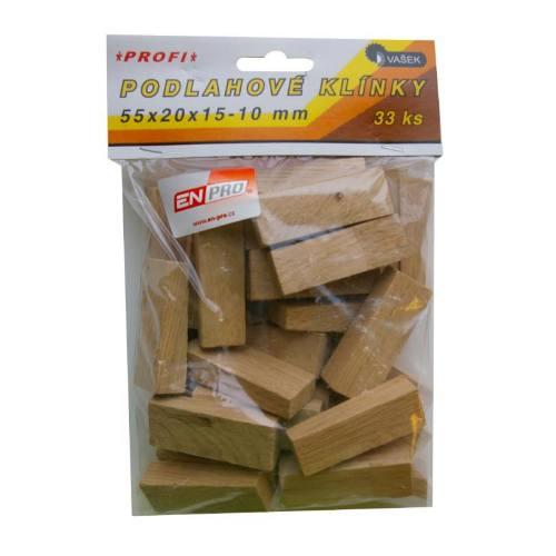 Klinky podlahové drevené, 55 x 20 x 10 - 5 mm, 51 ks, ENPRO