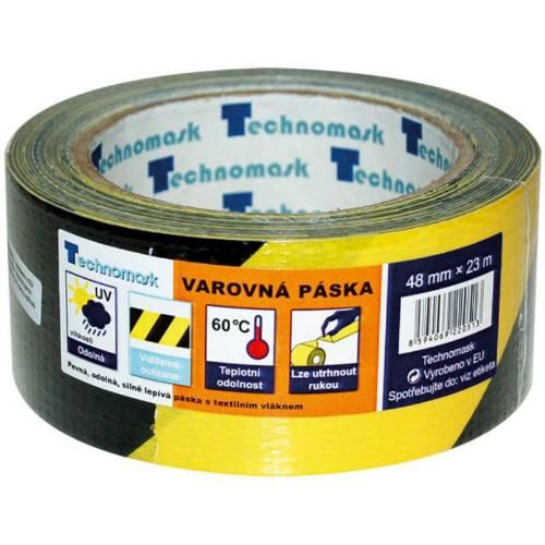 Páska výstražná samolepiaca PVC, 48 mm x 22 m, čierno-žltá