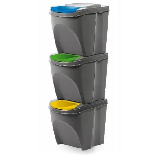 Koše odpadkové, 3 x 20 l, SORTIBOX IKWB20S3 405U