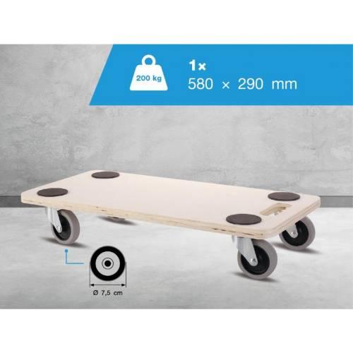 Doska transportné pre tvrdé podlahy, 58 x 29 cm, MDF doska, nosnosť 200 kg