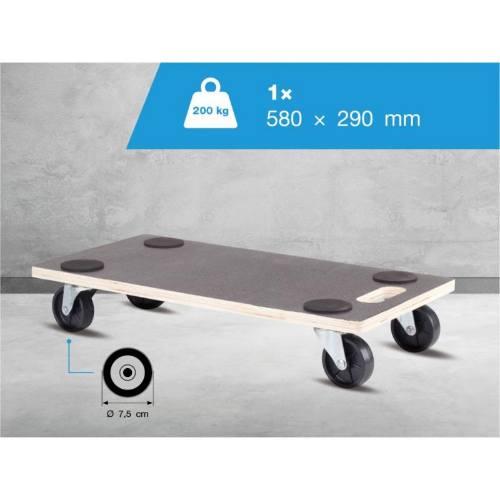Doska transportné pre tvrdé podlahy, 58 x 29 cm, fóliovaná protišmyková preglejka, nosnosť 200 kg