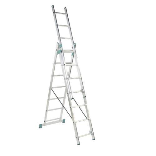 Rebrík Al, 3 x 9 priečok, 2,58 m, 5,69 m, úprava na schody, ALVE 7809