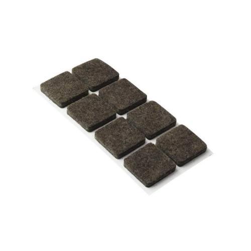 Podložky filcové 20 x 20 mm, samolepiace, hnedé, 32 ks