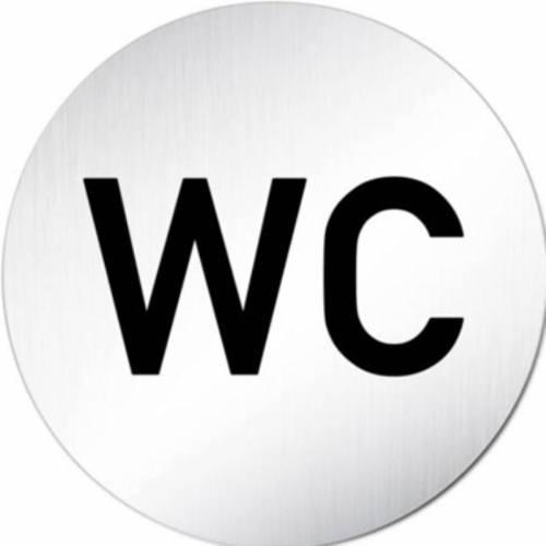 """Znak rozlišovaciu """"WC"""", Ø 75 mm, samolepiace, nerez"""