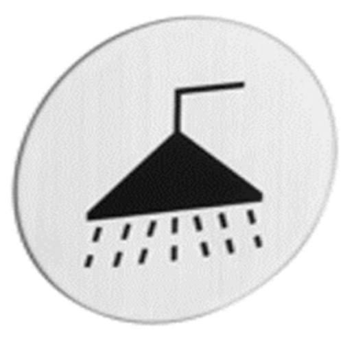 """Znak rozlišovaciu """"Kúpeľňa"""", Ø 75 mm, samolepiace, nerez"""