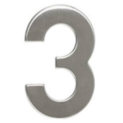 """Číslo """"3"""", 50 mm, samolepiace, nerez"""