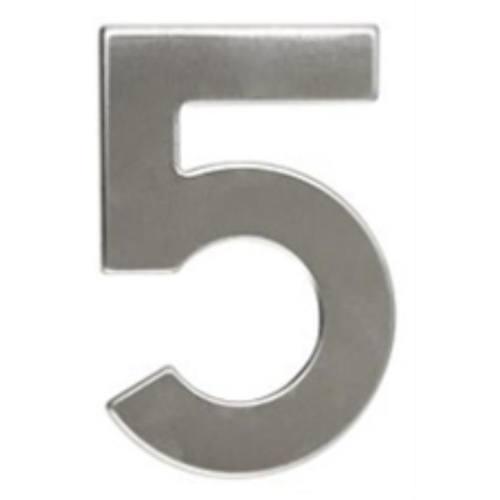 """Číslo """"5"""", 50 mm, samolepiace, nerez"""