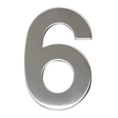 """Číslo """"6"""", 50 mm, samolepiace, nerez"""