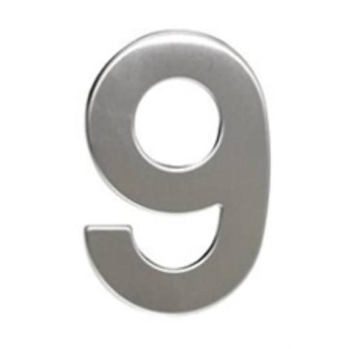 """Číslo """"9"""", 50 mm, samolepiace, nerez"""