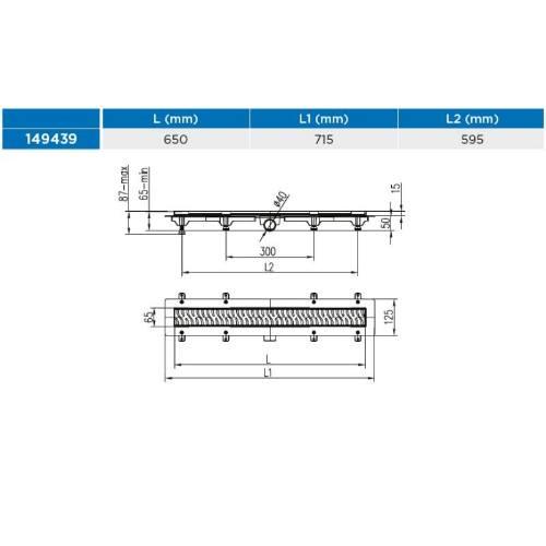 Žľab podlahový lineárne 650 mm, D 40 mm, bočné, drops mat, ENPRO