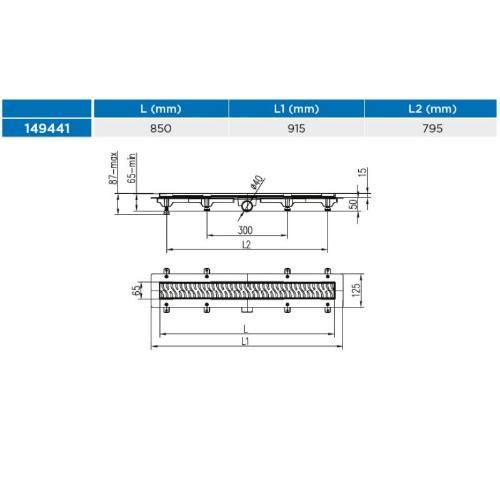 Žľab podlahový lineárne 850 mm, D 40 mm, bočné, drops mat, ENPRO