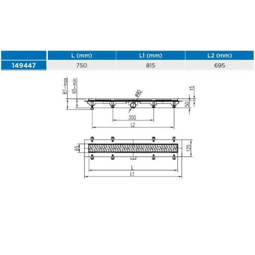 Žľab podlahový lineárne 750 mm, D 40 mm, bočné, medium mat, ENPRO