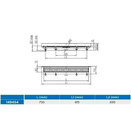 Žľab podlahový lineárne ku stene 750 mm, D 40 mm, bočné, klasik / floor mat, ENPRO