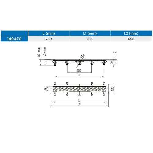 Žľab podlahový lineárne 750 mm, D 40 mm, bočné, medium, čierny, ENPRO