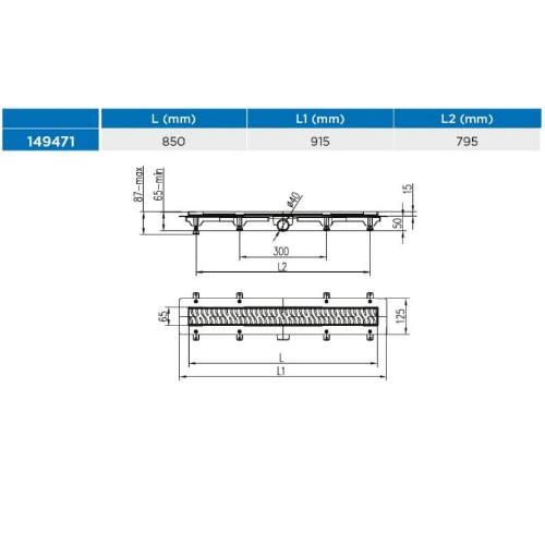Žľab podlahový lineárne 850 mm, D 40 mm, bočné, medium, čierny, ENPRO