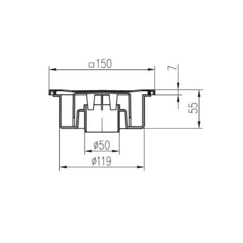 Vpusť podlahová spodná D 50/55 mm, nerez rámček, mriežka SUN, biela, ENPRO