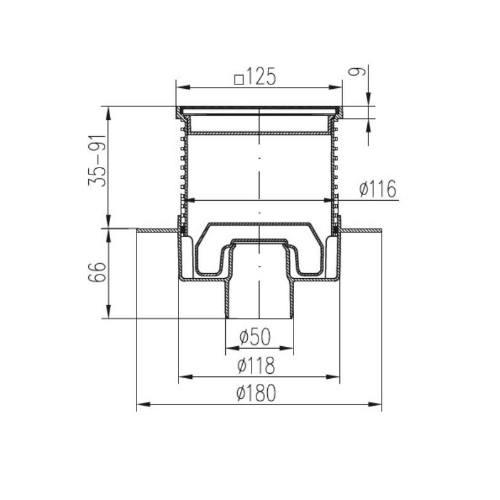 Vpusť podlahová spodnej NEPTUN D 50 mm, golier, nerez rámček, mriežka GATE, ENPRO