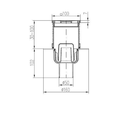 Vpusť podlahová spodnej D 50 mm, golier, nerez mriežka GATE, ENPRO