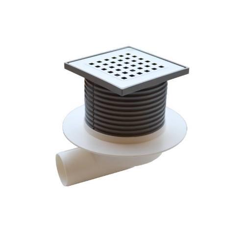 Vpusť podlahová bočné NEPTUN D 50 mm, golier, nerez mriežka GATE, ENPRO