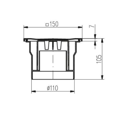 Vpusť podlahová spodnej D 110 mm, čierna, ENPRO