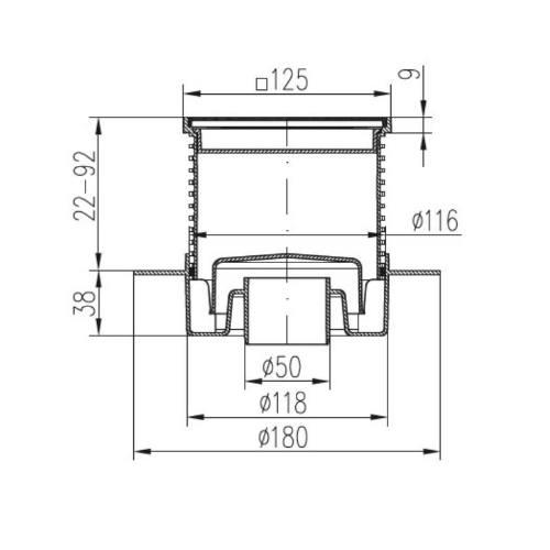 Vpusť podlahová spodnej D 50 mm, golier, nerez rámček, mriežka GATE, ENPRO