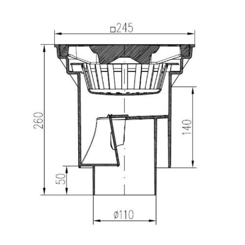 Vpust kanalizačné spodné, D 160 / 110-250 mm, suchá klapka, liatinová mriežka, ENPRO