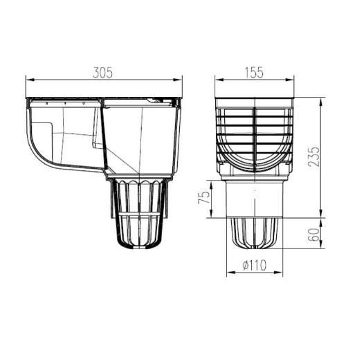 Lapač strešných splavenín priamy D 110 mm, čierna, ENPRO
