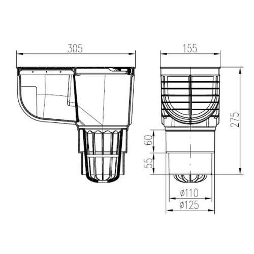 Lapač strešných splavenín priamy DN Ø 125/110 mm, čierna