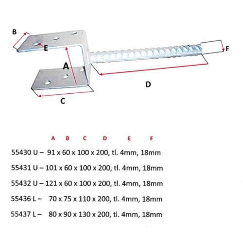 Pätka stĺpika U 71x60x120x200mm, hrúbka 4mm