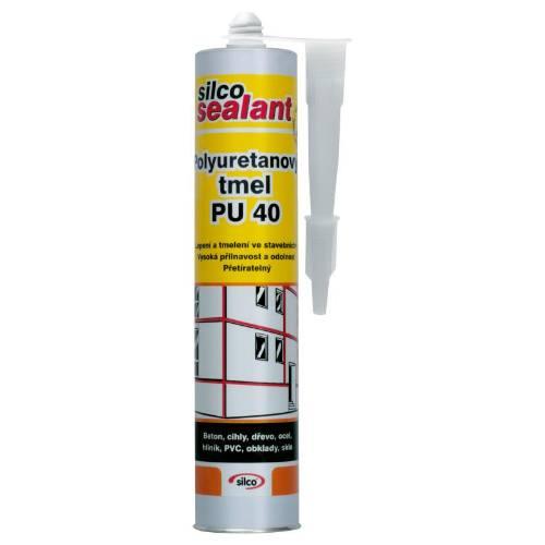 Tmel polyuretánový PU40, 310 ml, biely, SILC