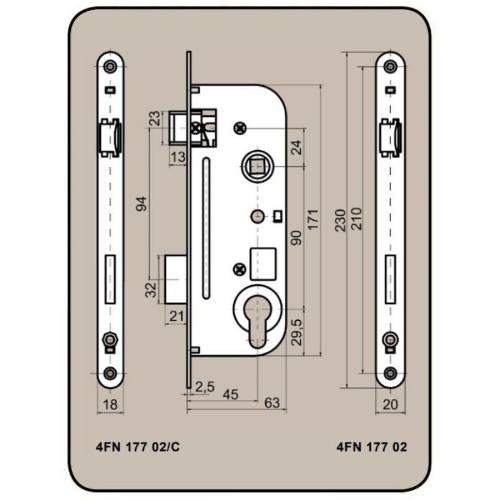 Zámok stavebné 6090/45 V, ľavý