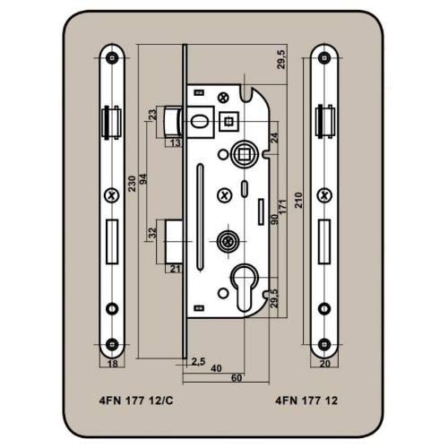 Zámok stavebné 6090/40 V, ľavý