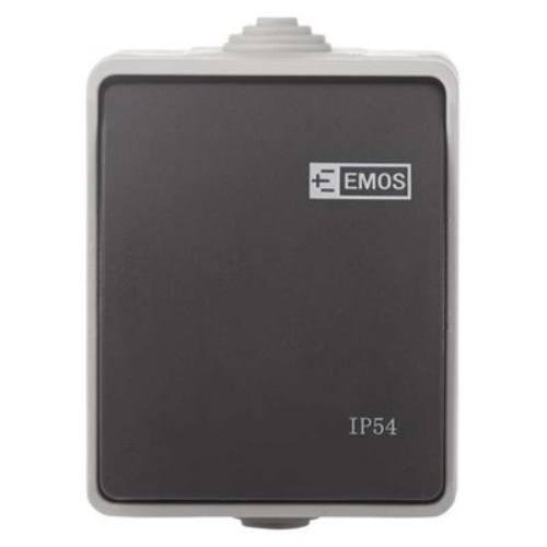 Prepínač nástenný IP54, šedo-čierny