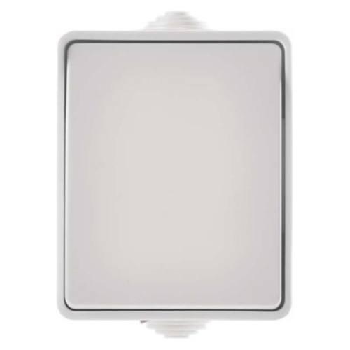 Prepínač nástenný IP54, jednotlačítkový, biely