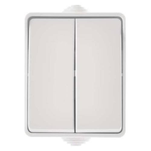 Prepínač nástenný IP54, dvojtlačidlový, biely