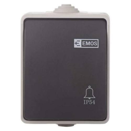 Prepínač tlačidlový 1/0 IP54, šedo-čierny