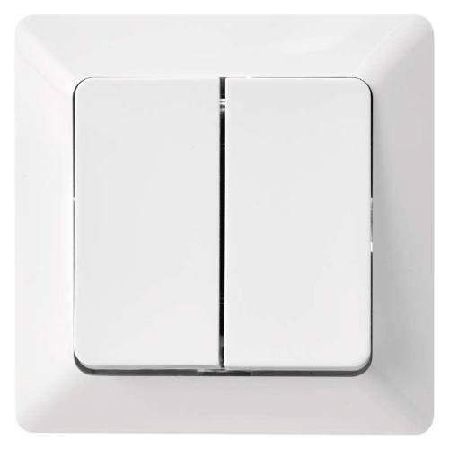 Prepínač sériový, dvojtlačidlový, biely