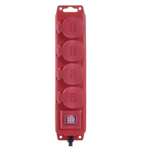 Kábel predlžovací, 3m / 250V, 4 zásuvky, červený